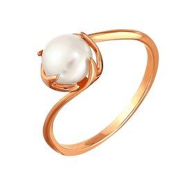 Кольцо из красного золота 585° пробы с жемчугом и фианитом